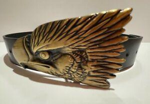 Eagle Head Belt Buckle Brass Metal Tone on Black Real Leather Belt Small Biker