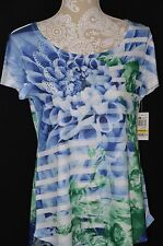 Style&Co. Womens Medium Blue Green Short Sleeve T-Shirt Embellished Floral Bling