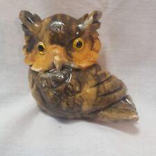 Vintage Genuine Alabaster Owl Made in Italy Hand Carved Original Label