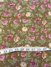 Brown Floral Quilting Fabric 2 Yds Rose Cottage Shabby Chocolate Cotton Chic F5