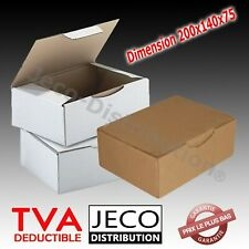 Boites postales d'expédition carton marron ou blanche 200x140x75mm Lots 5 à 500