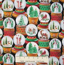 Christmas Fabric - Holiday Glitter Snow Globes Packed - Timeless Treasures YARD