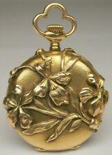 Marvelous Art Nouveau Victorian 14k Gold Iris Flowers Open Face Pocket Watch !