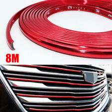 8M Trim Strip Red For Car Bumper Wheel Hub Protect Ring Moulding Decoration Edge
