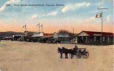 Mexico postcard Tijuana Main Street looking South street scene