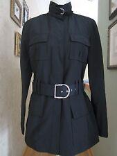 SISLEY Italy Black Rain Trench Coat Jacket Size S
