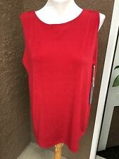 New $59 Chico's Travelers Sultry Red Reversible Tank Top Size 3 = XL 16 18 NWT