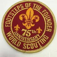 BSA Boy Scouts Patch Footsteps of the Founder 75th Anniversary World Scouting