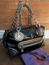 PAURIC SWEENEY LUXURY PATENT CHARCOAL LEATHER HAND SHOULDER BAG RETAIL £1150
