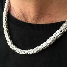925 Sterling Silver Mens Square Viking Byzantine Chain Necklace 5mm 80GR 24Inch