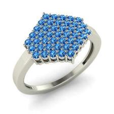 0.86 Ct Round Natural Gemstone Engagement Topaz Ring 14K White Gold Size N