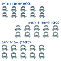 """30 Pcs 1/4"""" 5/16"""" 3/8"""" Fuel Injection Gas Line Hose Clamps Clip Pipe Clamp US"""
