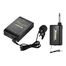 Lavalier Lapel Collar Clip-on FM Wireless Microphone System Transmitter Receiver