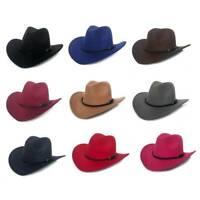 Women Men Winter Retro Wide Brim Hat Cowboy Cow girl Hat Felt Jazz Cap Ksy