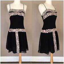 Betsey Johnson Black Spaghetti Strap Dress Sheer Size 6
