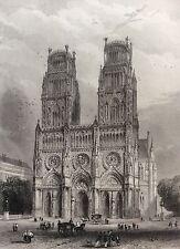 Cathédrale Sainte Croix d'Orléans estampe XIXe France par Rouargue 1853