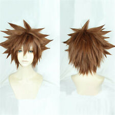 1pc Kingdom Hearts III Sora Short Afro Pale Brown Cosplay Hair Wig