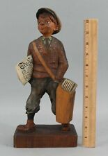 Antique Early 20thC Carved Wood, Clockworks, Automaton Whistling Newspaper Boy