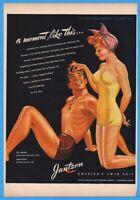 1943 Jantzen Knitting Mills Portland OR Swimsuit Swimwear Pete Hawley Art Ad