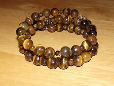 New Brown TIGER EYE Beads Coil Wrap BRACELET - Made in USA - Meaningful Stone