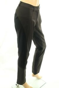 Montana Blu Women's Brown Pants Wool Blend Stretch Size 48 (US 10) Made In Italy