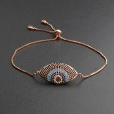 Fashion Men Women Evil Eye Cubic Zirconia CZ Copper Adjustable Bracelets Gift