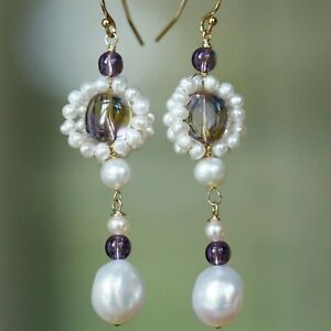 Elegant Ametrine Freshwater pearl necklace earrings wedding party jewlery set 02