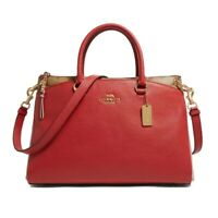 NWT COACH Mia Satchel Canvas Luxury Handle Leather Wine True Red Gold F84428