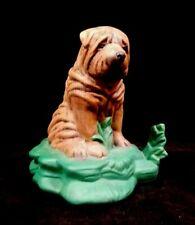 Shar Pei Wrinkle Dog Figurine Hand Painted Ceramic Home Decor
