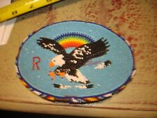 Beautiful native Indians Fully Beaded  EAGLE Belt Buckle OLD OR VINTAGE-4 FLAWS