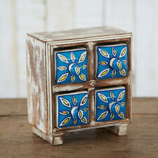 Fair Trade Handmade Antique Look Ceramic Hand Painted 4 Drawer Set NCD1