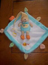 Doudou Plat Babynat Ours Bleu Jaune Et Orange etat neuf