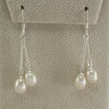 Reduced White Pearl Earrings Dangle 9 X 6 mm .925 Sterling Silver Brand New ss