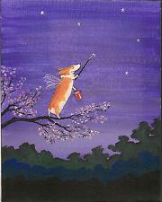 8X10 Folk Print Of Painting Ryta Pembroke Welsh Corgi Fairy Angel Flowers Stars