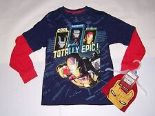 MARVEL IRON MAN 3 BOYS LONG SLEEVE T-SHIRT & BEANIE SET SIZE 18 NEW!