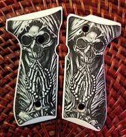 Beretta 92 92FS 96 custom engraved ivory grips Skull Grim Reaper Praying Cross