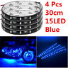 Blue 4pcs 30CM/15 LED Car Motors Truck Flexible Strip Light Waterproof 12V