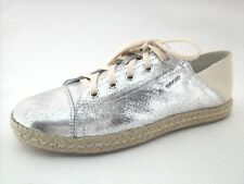 GEOX RESPIRA Shoes Silver Leather/Canvas Sneaker ESPADRILLES Flats US 10/40 $195