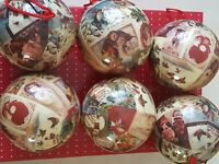 Set Of 6 Decoupage Ornaments Victorian Style Christmas