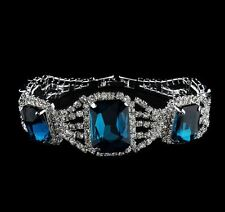 LUXURY FACETED TURQUOISE OVAL CLEAR DIAMANTI RHINESTONE CRYSTAL BRACELET
