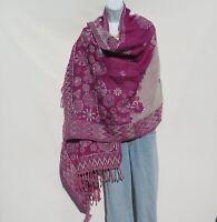 Yak/Sheep Wool Blend|Stitched Embroidery|Shawl|Handcrafted|Nepal|Plum & Ivory