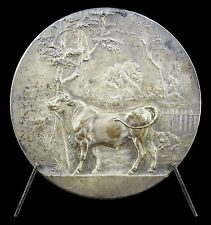 Medaille Taureau Bull animal boeuf Saint-Aignan-sur-Roë ML Lemée 50mm 1925 medal