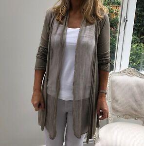 Fine Knit Beige Cardigan with 100% Silk Drape Front