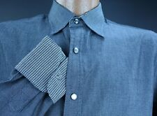 Mens AGE OF WISDOM NWOT S Small Grey Pearl Snap Flip Cuff Long Sleeve Shirt