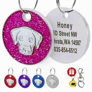 Personalised Dog Tag Engraved Pet Name ID Collar Tag Bling Glitter for Labrador