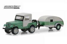 GREENLIGHT 32160B 1/64 1972 JEEP CJ-5 HALF CAB AND TEARDROP TRAILER