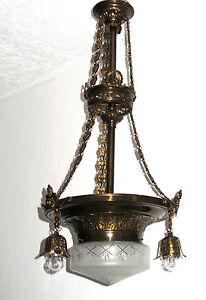 Antik Jugendstil Französische Messing-Glas Putten Kronleuchter, Lüster