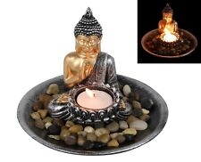 15cm Zen Buddha Rock Garden With Tealight Candle Holder on Plate