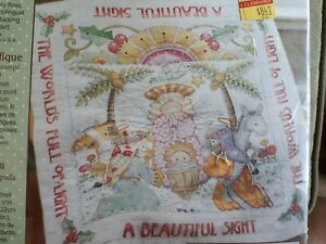 Bucilla Beautiful Sight Mary Engelbreit Lap Quilt Kit 86192 Cross Stitch Manger