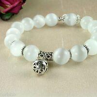 B4 Elasticated Opal Beads Tibetan Silver Charm Bracelet - Gift Pouch
